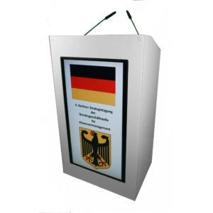 Rednerpult Verleih in Berlin weiss Monitor