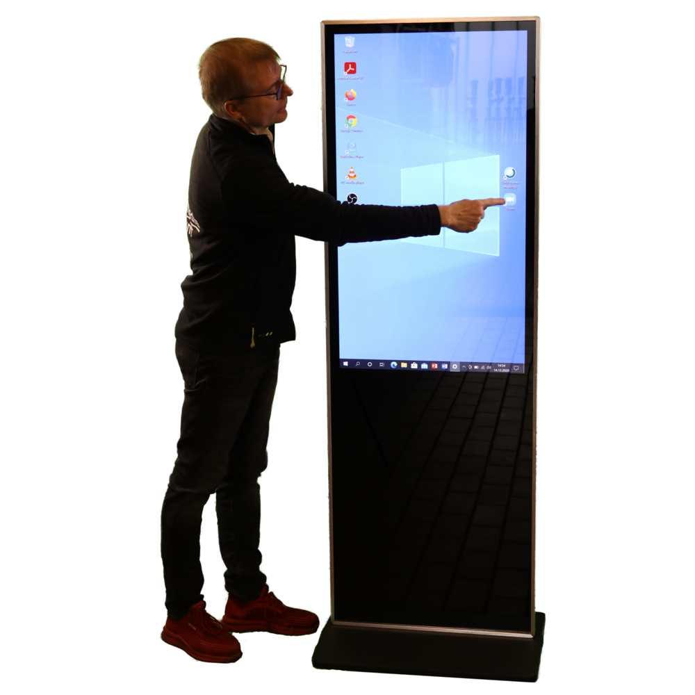 Flachbildschirm mieten Berlin Verleih Hochkant Porträt Touchscreen Infostele ausleihen Berlin